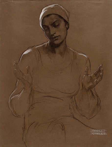 Violet Oakley: The Virgin Mary (1903) Charcoal and white chalk on tan paper