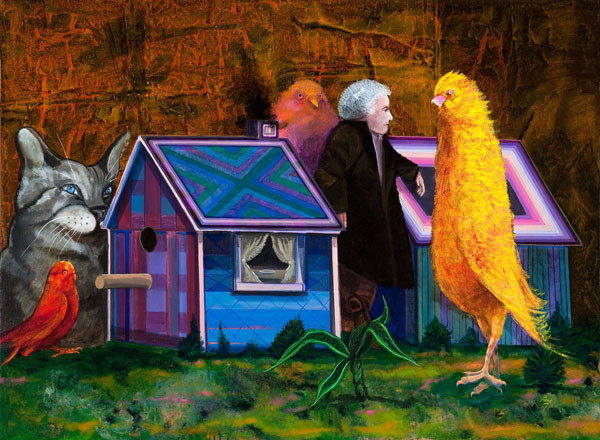 Peter Paone:  Bird Buying a House (1973) Acrylic on canvas