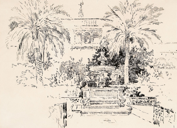 Joseph Pennell: Fountain and Palms (Undated) Pen and ink on heavy woven paper