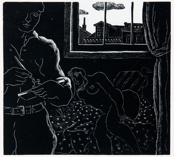 Salvatore Pinto: Self Portrait with Model (c. 1936) Wood engraving