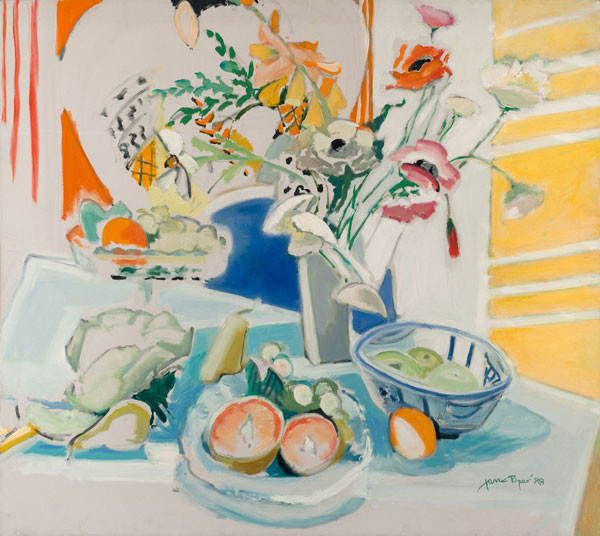 Jane Piper: Fruit and Flowers (1988) Oil on canvas