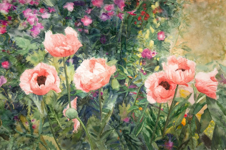 Eileen Goodman: Garden with Poppies (1993) Watercolor on Arches paper