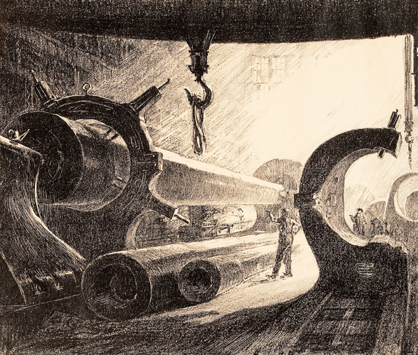 Herbert Pullinger: Machining a Big Gun: Midvale-Phila, PA (Undated) Lithograph on laid paper