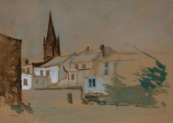 Seymour Remenick: [Buildings with church spire] (Undated) Watercolor and gouache on brown paper