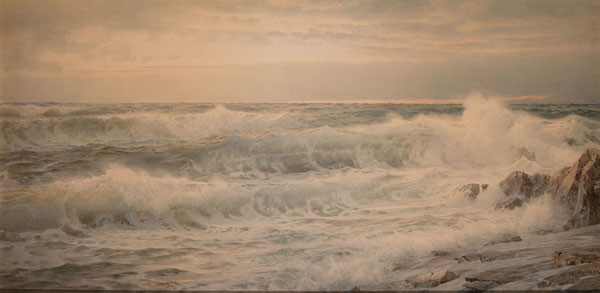 William Trost Richards: Where Tumbling Billows Mark the Coast with Surging Foam (Undated) Watercolor