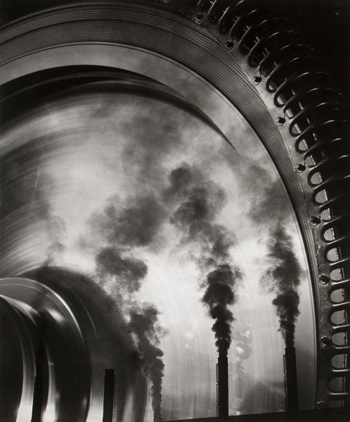 William Rittase: Smokestacks Reflected in Turbine (Undated) Gelatin silver print
