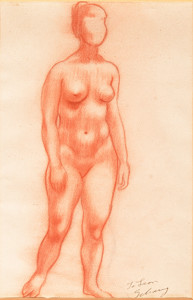 Saul Schary: Standing Female Nude () Conte on paper