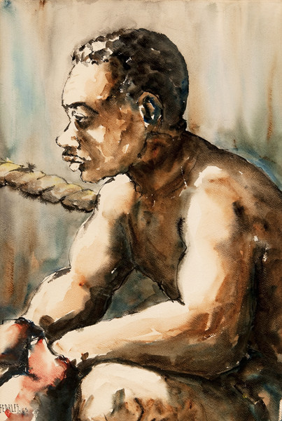 Charles Searles: Untitled [Boxer] (1963) India ink and watercolor