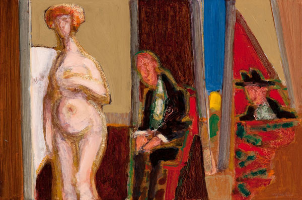 Harry Sefarbi: Brothel scene, nude females with two seated males (1963) Oil on Masonite