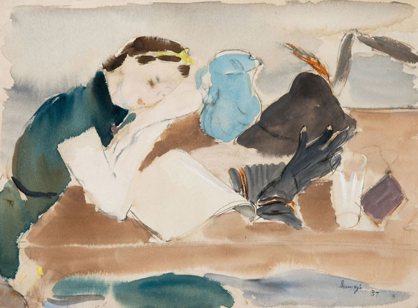 Albert Serwazi: Model Resting (1937) Watercolor sketch