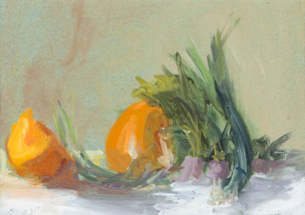 Stuart Shils: Still Life with Melon and Beets (1983) Oil on paper