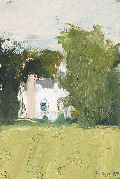 Stuart Shils: [Untitled Landscape with House] (1993) Oil on board