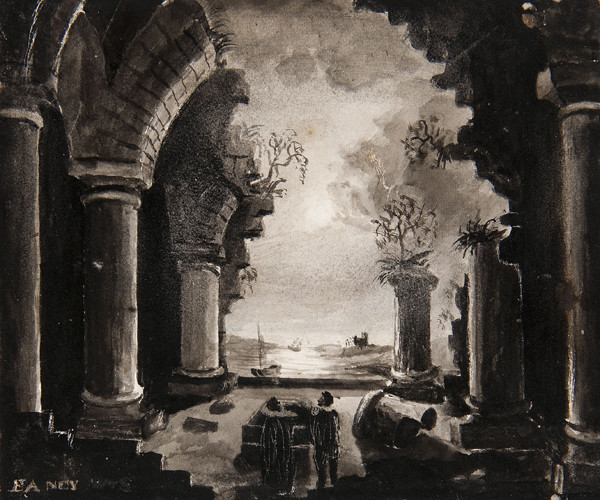 Russell Smith: Scenic Design for the Thalian Society (1830) Inkwash on paper