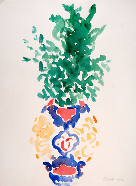 Harry Soviak: [Vase with Greens] (1976) Watercolor on paper