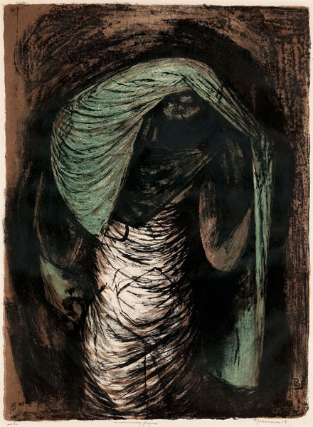 Benton Murdoch Spruance: Mourning Figure (Undated) Lithograph in color