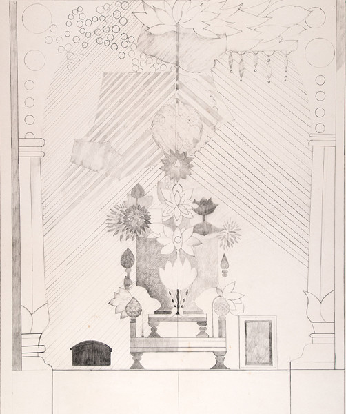 Doris Staffel: Lotus Throne (1972) Graphite on paper