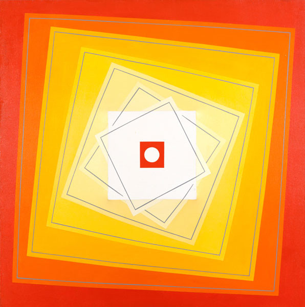 Louise Zimmerman Stahl: Revolving Square-Orange to Yellow (1980s) Acrylic on canvas