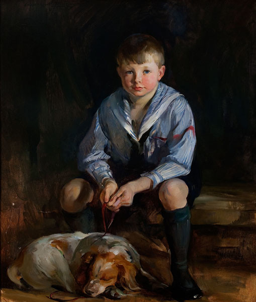 Alice Kent Stoddard: Portrait of David Gates with Dog (Undated) Oil on canvas