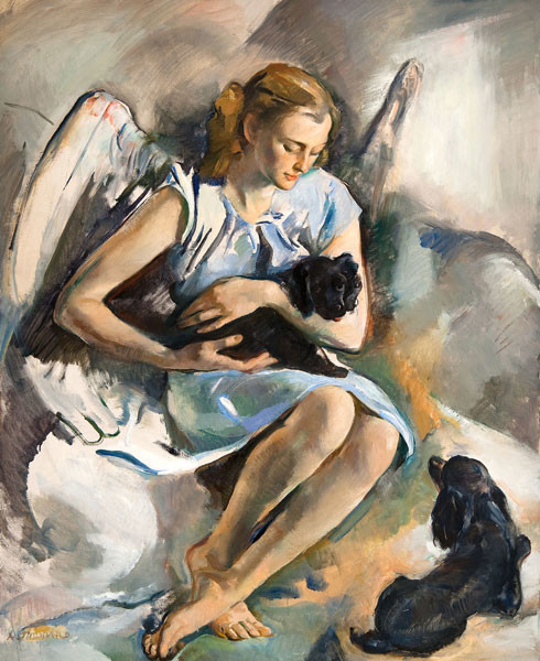 Alice Kent Stoddard: The Puppies' Angel (Date unknown) Oil on canvas