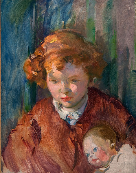 Alice Kent Stoddard: Red-Headed Girl with a Doll (Date unknown) Oil on canvas