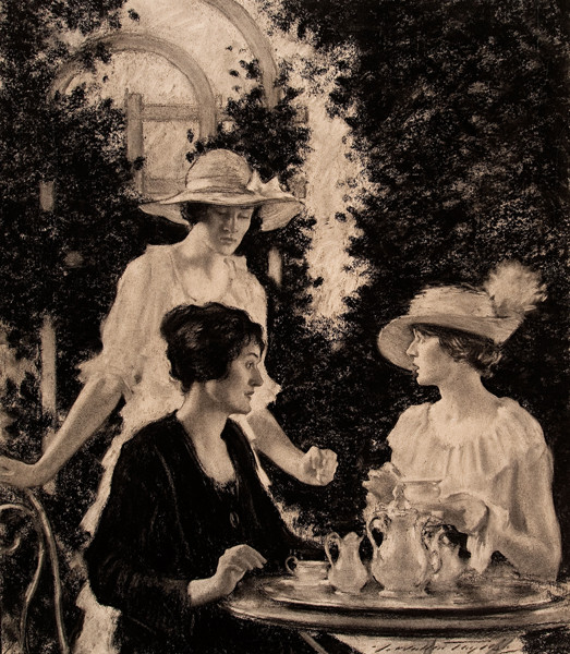 F. Walter Taylor: Afternoon Tea (Undated) Charcoal drawing