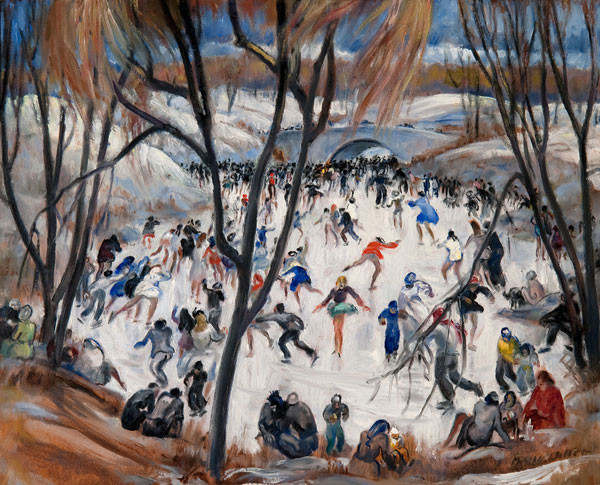 Martha Walter: Skating in Central Park (c. 1925) Oil on board