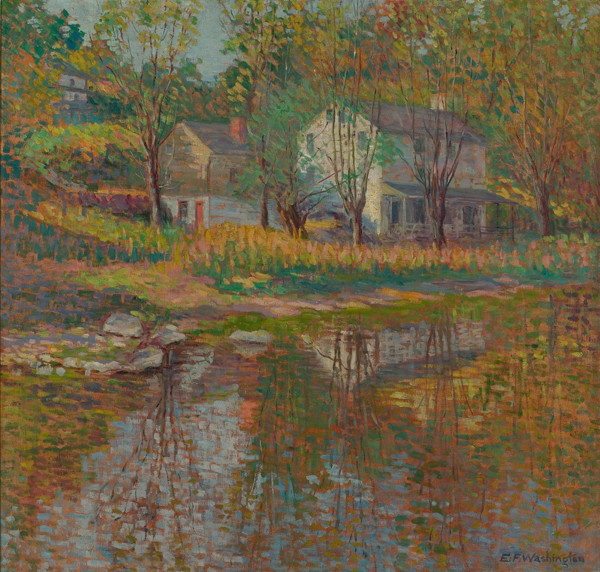 Elizabeth Fisher Washington: Farmhouse by the River (Undated) Oil on canvas