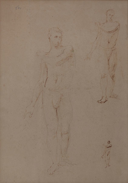 Franklin Watkins: [studies of a male nude model] (Undated) Pen and brown ink on Arches France paper