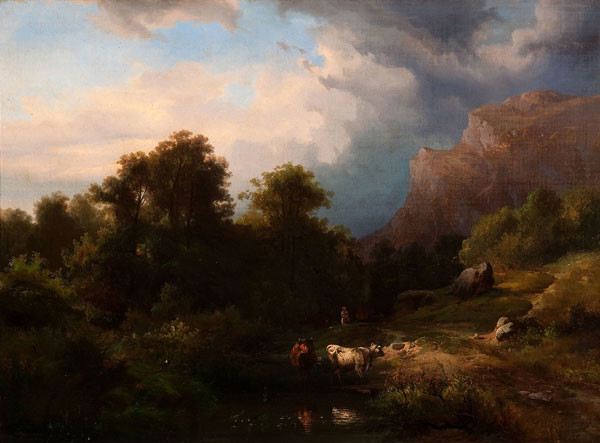 Paul Weber: Landscape with Two Cows (Undated) Oil on canvas