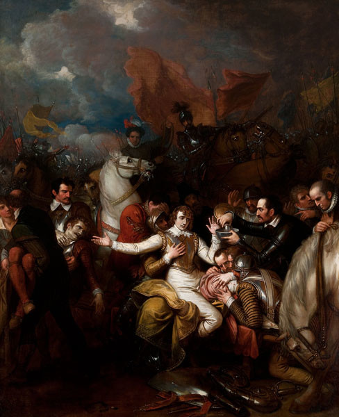 Benjamin West: The Fatal Wounding of Sir Philip Sidney (1806) Oil on canvas