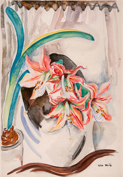 Vera White: Amaryllis (c. 1940) Watercolor on paper