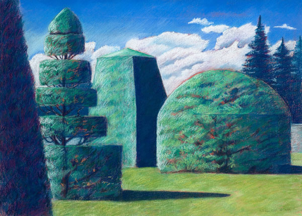 Barbara Zucker: Topiaries: Form and Shadow XIV (1999) Acrylic and pastel on paper