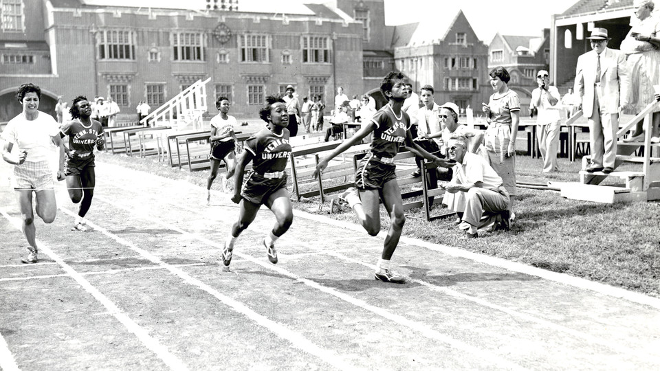 Tennessee State University Tigerbelles Wilma Rudolph (first place) and Martha Hudson (second place) in the 75-yard dash, Penn Relays, Franklin Field, University of Pennsylvania, Philadelphia