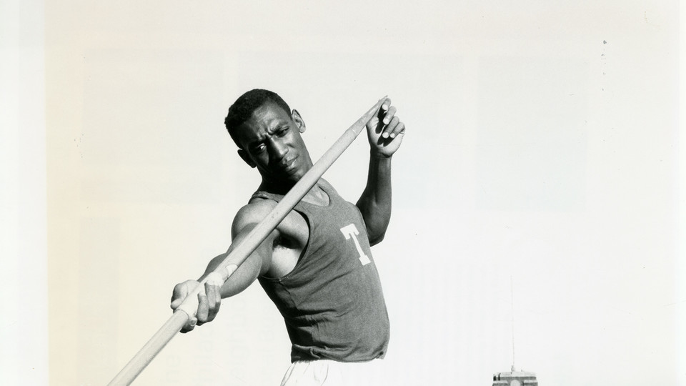 William Cosby of the Temple University men's track and field team holding a javelin