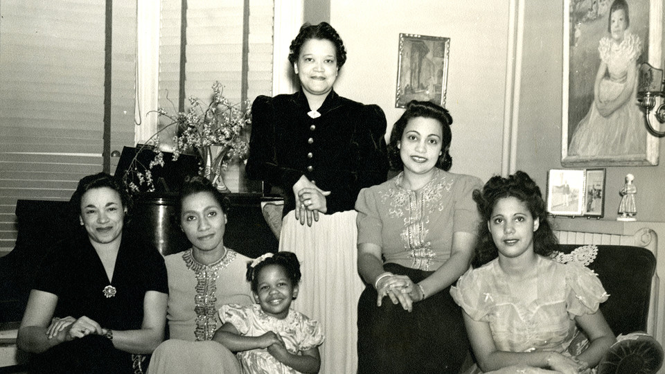 Left to right: Unidentified woman, Dr. Helen O. Dickens, unidentified child, Sadie T. M. Alexander, Mary Elizabeth Alexander, and Rae Pace Alexander
