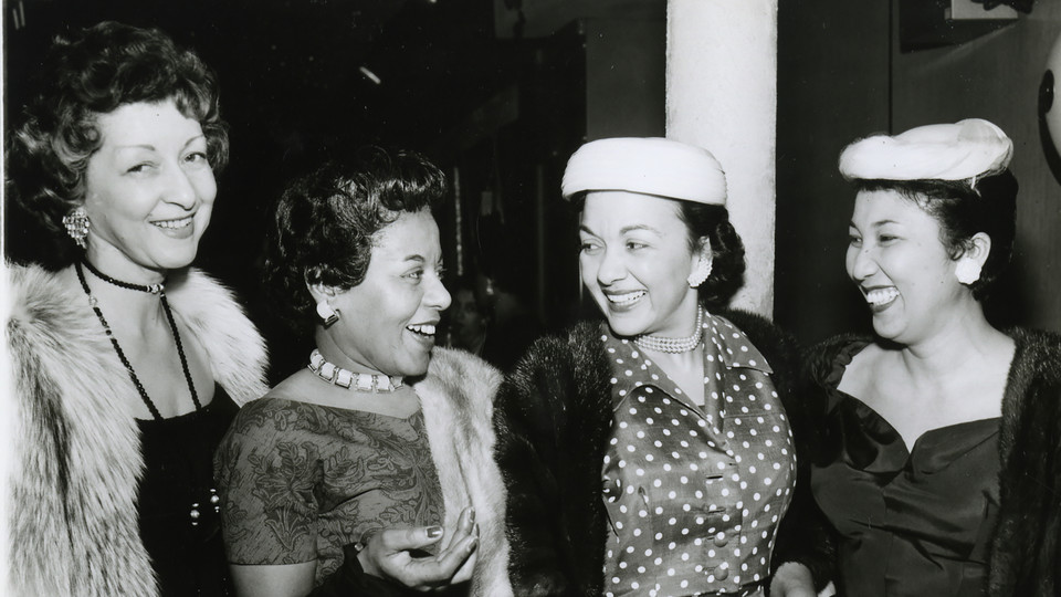 "Left to right: Two unidentified women, Thelma ""Angel"" Loving, and Nevada Ward at a Jack & Jill of America event, Philadelphia"
