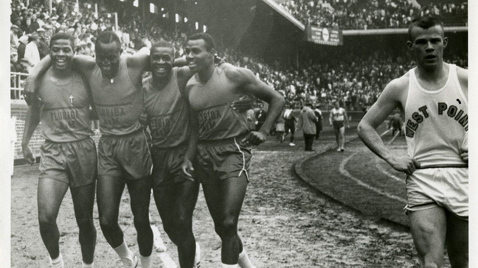 Members of the Florida A&M University track and field team at the Penn Relays, Franklin Field, University of Pennsylvania, Philadelphia