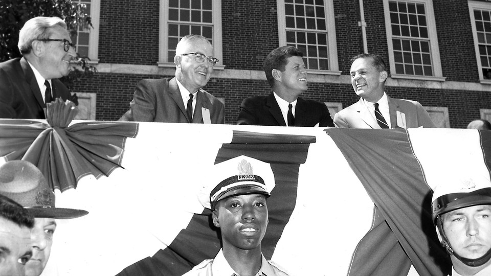 US Representative William J. Green, Jr., Philadelphia Mayor James H.J. Tate, US President John F. Kennedy,  and US Senator Joseph S. Clark from Pennsylvania at an Independence Hall Fourth of July celebration