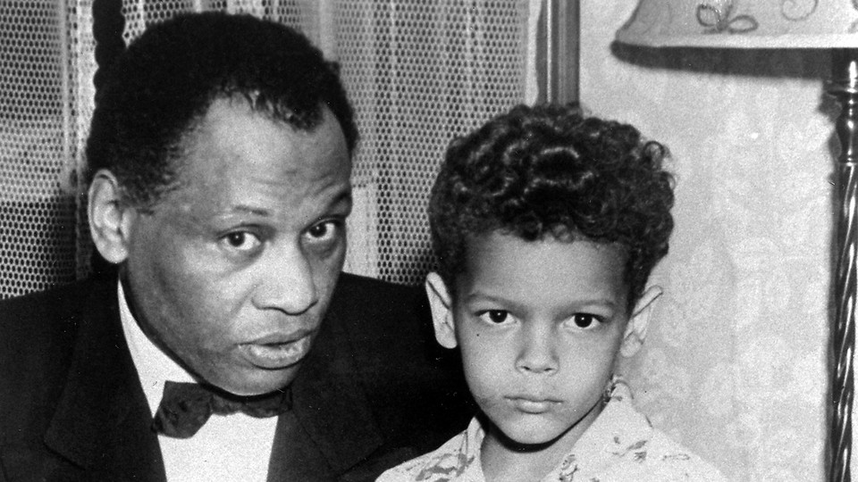 Paul Robeson with Julian Bond at the home of Dr. Horace Mann Bond and Mrs. Julia Bond