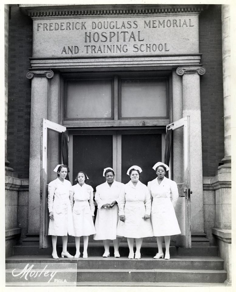 Nurses In Front Of The Frederick Douglass Memorial