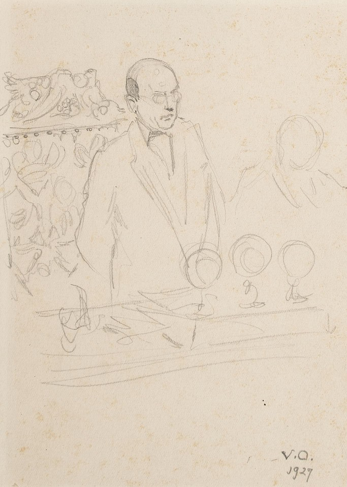 Study of man standing at microphones at League of Nations Image 1