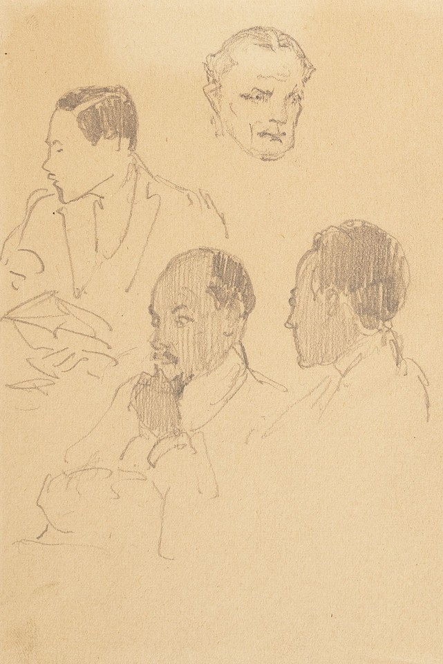 Portrait head studies of four unidentified men at League of  ... Image 1