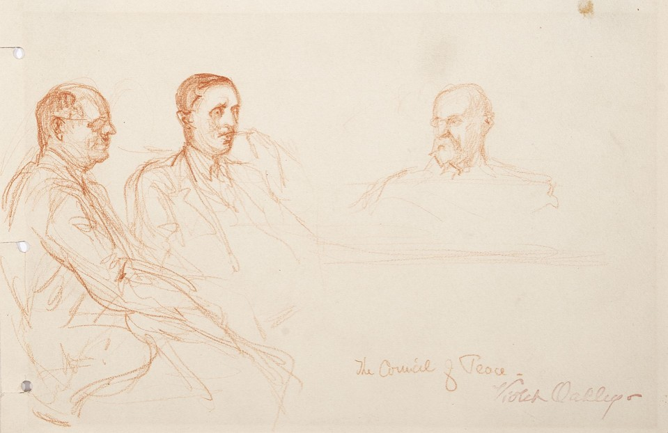 The Council of Peace: portrait study of three seated men at  ... Image 1