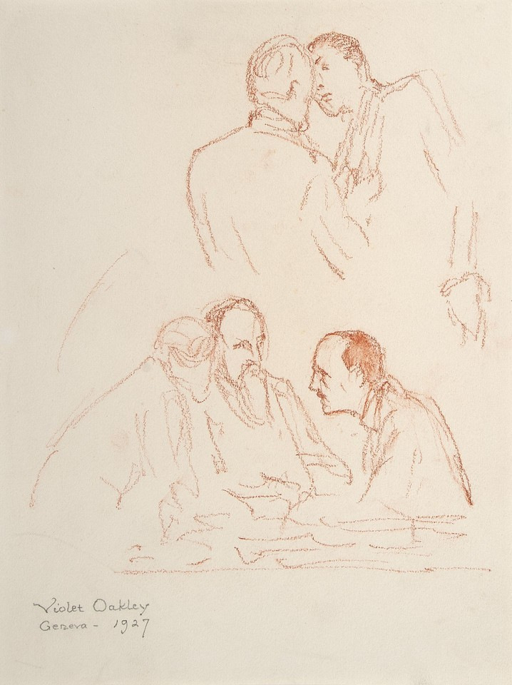 Studies of two men conversing and group of three doing same  ... Image 1