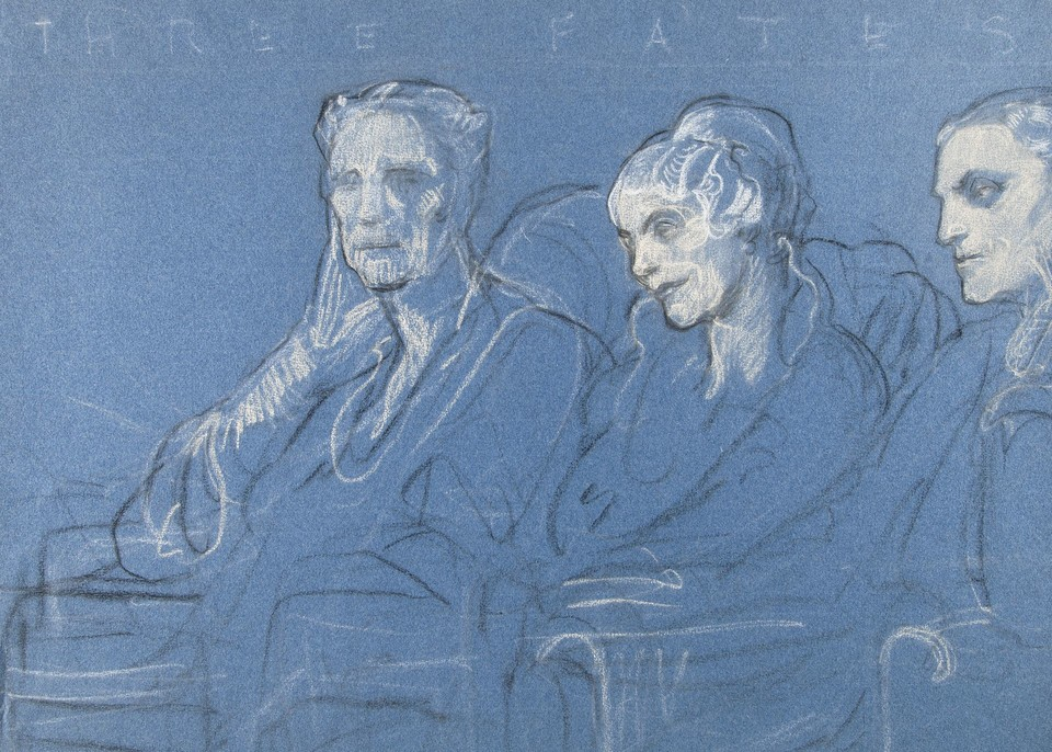 "Study for the ""Three Fates"" (American visitors to the League ... Image 1"