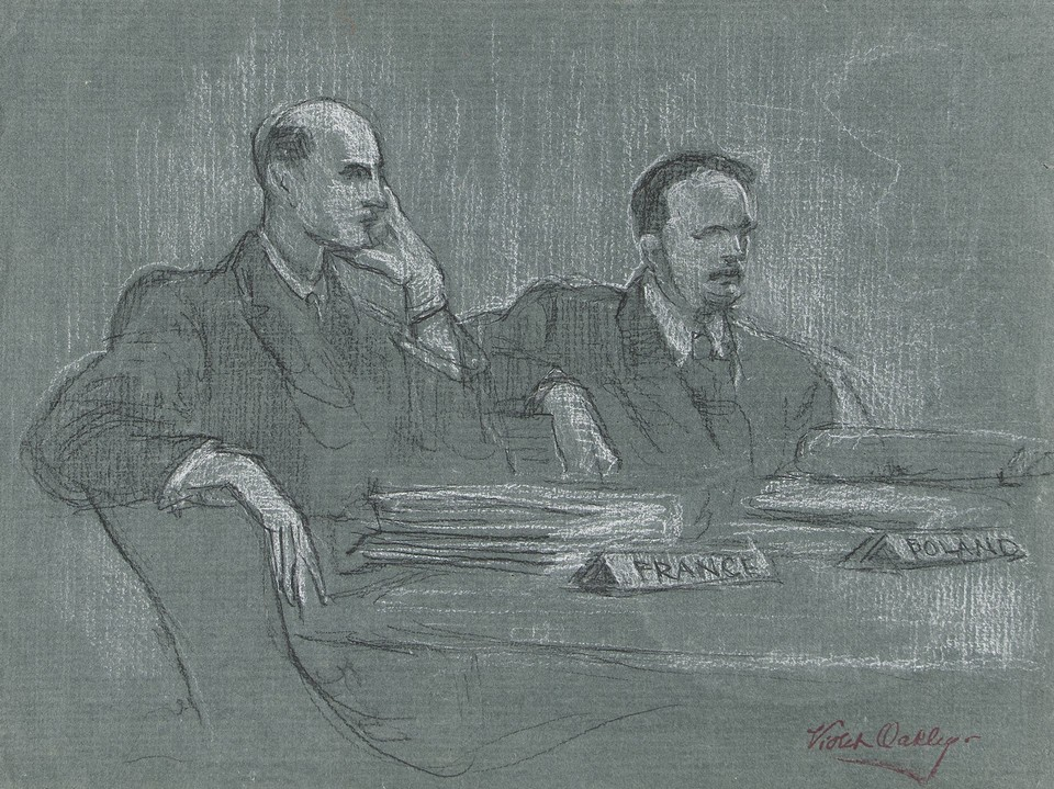 Portrait study of delegates from France and Poland to the Un ... Image 1