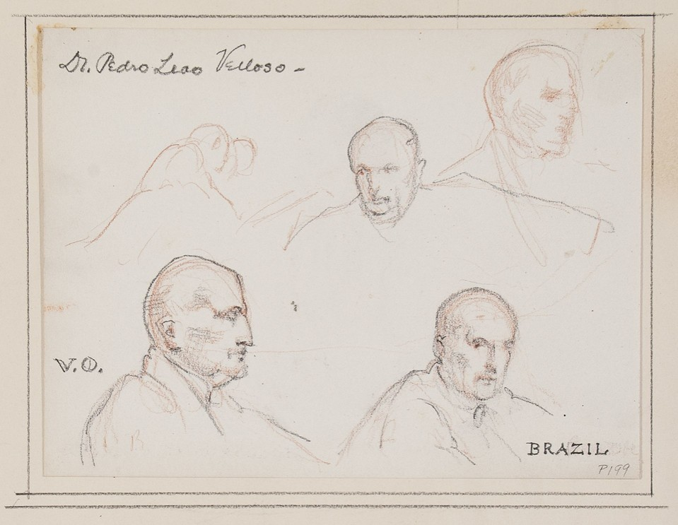 Portrait head studies of Dr. Pedro Leão Veloso, chairman of  ... Image 1