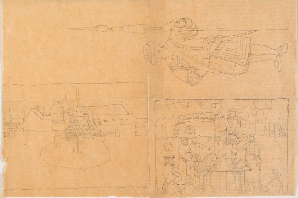 Studies for a Yeomen Warder (Beefeater); an outdoor scene wi ... Image 1