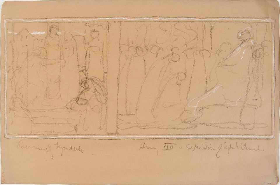 Composition sketch for Tyndale at the stake and English cour ... Image 1