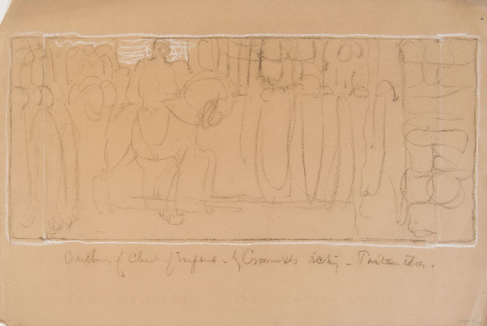 Study of man on horseback riding past crowd for the mural se ... Image 1